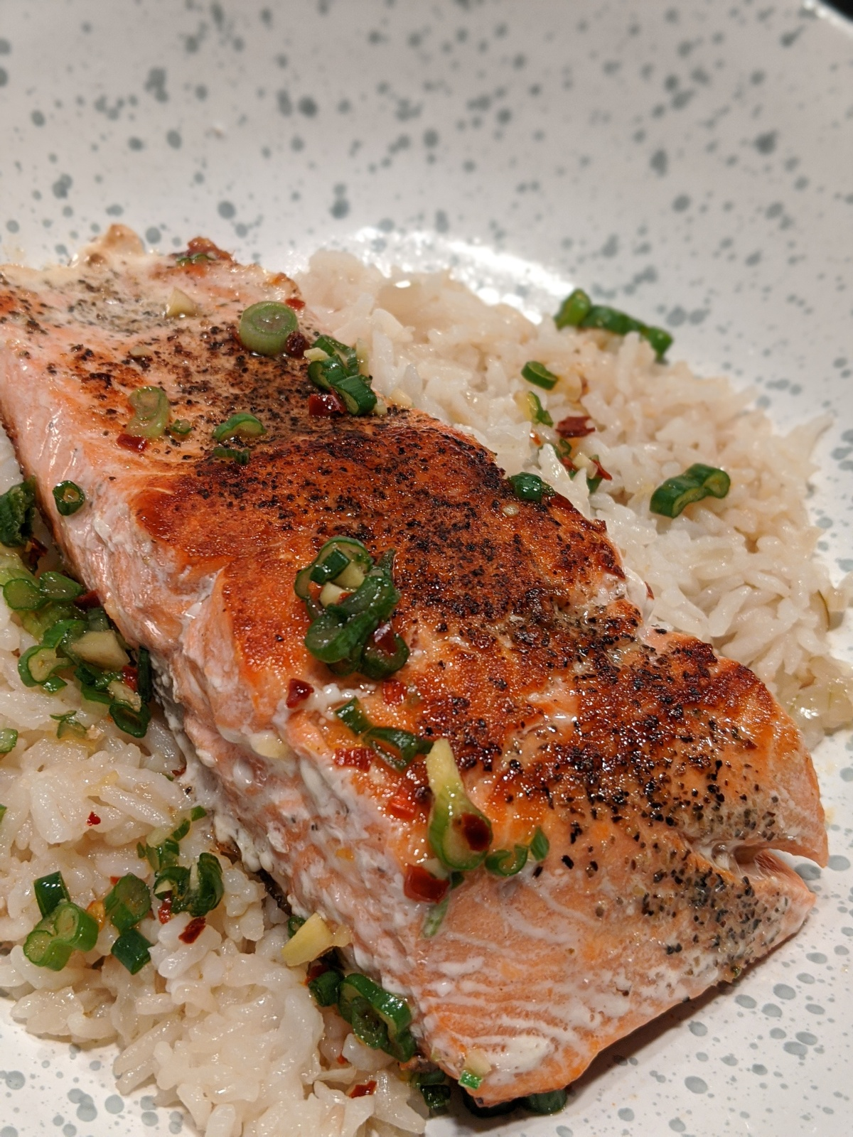 Cherryblossom Salmon with Coconut Ginger Rice
